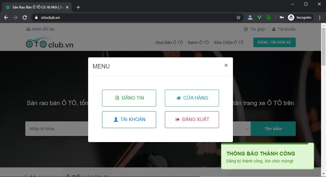 Đăng ký tài khoản thành công trên otoclub.vn